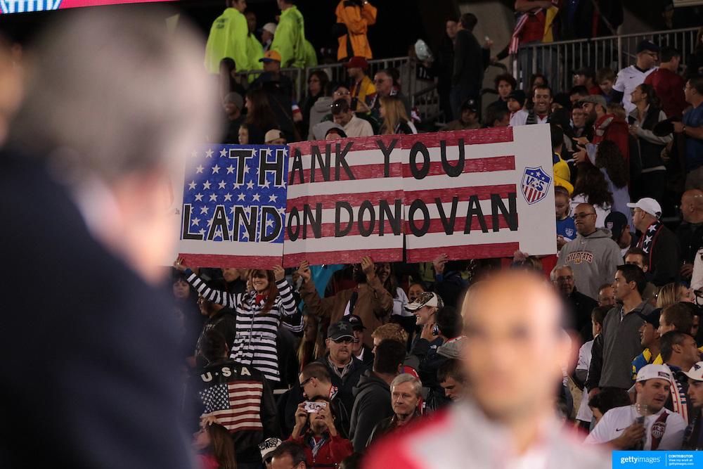 Landon Donovan, USA, talks on live television during his farewell match during the USA Vs Ecuador International match at Rentschler Field, Hartford, Connecticut. USA. 10th October 2014. Photo Tim Clayton