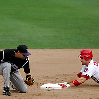 21 July 2007:  Washington Nationals third baseman Ryan Zimmerman (11) safely slides into second base with a double in the 6th inning as Colorado Rockies second baseman Jamey Carroll (1) turns to make the tag.  The Nationals defeated the Rockies 3-0 at RFK Stadium in Washington, D.C.  ****For Editorial Use Only****