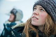 UNIS students Sofie Vej Ugelvig (front) and Þorbjörg Sigfúsdóttir explore the surface of Rabotbreen, Svalbard on a class field trip.