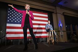 March 29, 2019 - West Des Moines, Iowa, U.S - Senator ELIZABETH WARREN (D-MA) campaigns for president alongside former congressional candidate J.D. SCHOLTEN at NOAH'S Event Venue in West Des Moines, Iowa on Friday, March 29, 2019. (Credit Image: © KC McGinnis/ZUMA Wire)