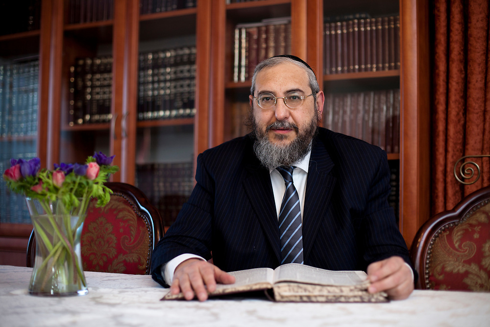 Israeli Parliament member Rabbi Haim Amsalem of the Jewish ultra-Orthodox Shas party, poses for a portrait at his home in Jerusalem, Israel, on December 28, 2011.