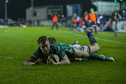 March 22, 2019 - Ireland - Matt Healy of Connacht scores a try during the Guinness PRO14 match between Connacht Rugby and Benetton Rugby at the Sportsground in Galway, Ireland on March 22, 2019  (Credit Image: © Andrew Surma/NurPhoto via ZUMA Press)
