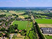 Nederland, Noord-Brabant, gemeente Boxmeer; 14–05-2020; Holthees met spoorlijn Roermond - Nijmegen (Arriva) en het Afleidingskanaal richting Venray. Grens Noord-Brabnt en Limburg<br /> Local railway line and canal on the border of North Brabant and Limburg<br /> <br /> luchtfoto (toeslag op standaard tarieven);<br /> aerial photo (additional fee required)<br /> copyright © 2020 foto/photo Siebe Swart