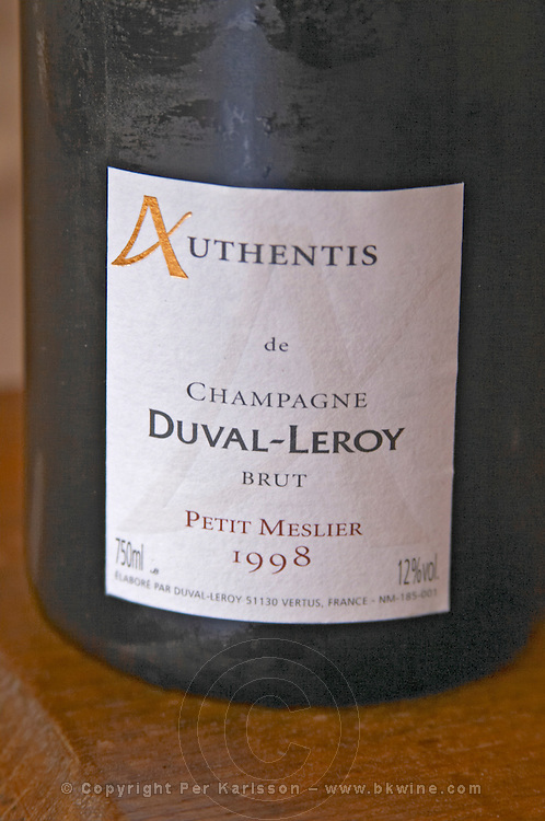 A detail of the label of a bottle from the range Authentis: A single grape variety champagne from the very unusual variety Petit Meslier, Brut Millesime vintage 1998 Champagne Duval Leroy, Vertus, Cotes des Blancs, Champagne, Marne, Ardennes, France