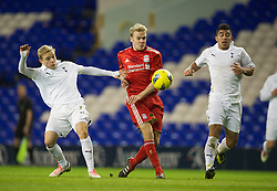 LONDON, ENGLAND - Wednesday, February 1, 2012: Liverpool's Ryan McLaughlin in action against Tottenham Hotspur's Alex Pritchard and captain Massimo Luongo during the NextGen Series Quarter-Final match at White Hart Lane. (Pic by David Rawcliffe/Propaganda)