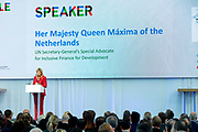 Koningin Maxima woont de de conferentie The Future of Sustainable Trade bij ter gelegenheid van het tienjarig bestaan van het Initiatief voor Duurzame Handel (IDH).<br /> <br /> Queen Maxima attends the The Future of Sustainable Trade conference on the tenth anniversary of the Sustainable Trade Initiative (IDH).