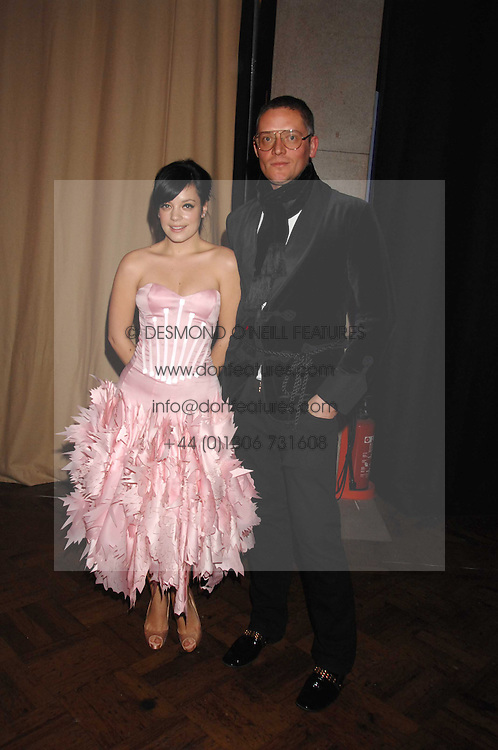 LILY ALLEN and GILES DEACON at the British Fashion Awards 2007 held at the Royal Horticultural Halls, Vincent Square, London on 28th November 2007.<br /><br />NON EXCLUSIVE - WORLD RIGHTS
