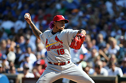 September 15, 2017 - Chicago, IL, USA - St. Louis Cardinals starting pitcher Carlos Martinez throws against the Chicago Cubs at Wrigley Field in Chicago on Friday, Sept. 15, 2017. The Cubs won, 8-2. (Credit Image: © Terrence Antonio James/TNS via ZUMA Wire)