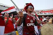 Football fans of Egypt cheer prior to the Africa Cup of Nations final between Egypt and Cameroon in Accra, Ghana on February 10, 2008.