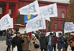 November 9, 2016 - Kiev, Ukraine - Ukrainians attend a rally against the Russification of Ukraine in Kiev, Ukraine, 9 November, 2016. The rally organized by All-Ukrainian Union ''Movement to protect the Ukrainian language'' timed to the Day of Ukrainian writing and language. (Credit Image: © Str/NurPhoto via ZUMA Press)