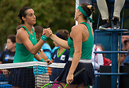 Caroline Garcia of France and Aryna Sabalenka of Belarus shake hands after their third-round match at the 2018 Western and Southern Open WTA Premier 5 tennis tournament, Cincinnati, Ohio, USA, on August 16th 2018 - Photo Rob Prange / SpainProSportsImages / DPPI / ProSportsImages / DPPI