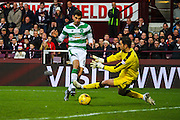 Celtic FC Midfielder Nir Bitton scores celtics first goal during the Ladbrokes Scottish Premiership match between Heart of Midlothian and Celtic at Tynecastle Stadium, Gorgie, Scotland on 27 December 2015. Photo by Craig McAllister.