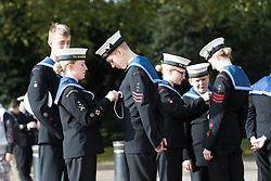 © Licensed to London News Pictures. 22/10/2017. LONDON, UK.  Sea Cadets prepare to take part in the Trafalgar Day parade. Four hundred sea cadets from across the UK march from Horse Guards Parade to Trafalgar Square to mark the 212th anniversary of the Battle of Trafalgar.  Photo credit: Vickie Flores/LNP