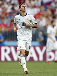 Fyodor Smolov of Russia during the 2018 FIFA World Cup Russia round of 16 match between Spain and Russia at the Luzhniki Stadium on July 01, 2018 in Moscow, Russia