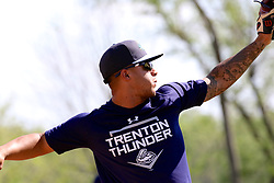 May 2, 2017 - Trenton, New Jersey, U.S - GLEYBER TORRES, a top prospect for the Yankees who is a regular shortstop for the Trenton Thunder and occasionally plays second base, is also being given reps and game time at 3rd base to increase his versatility. Here he is practicing making a throw from third base this afternoon before tonight's game vs. the Harrisburg Senators, where Torres will man third base for the Thunder. (Credit Image: © Staton Rabin via ZUMA Wire)