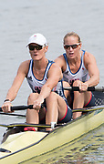 """Rio de Janeiro. BRAZIL.  GBR W2-, Bow Helen GLOVER and Heather STANNING, moving away from the start at the 2016 Olympic Rowing Regatta. Lagoa Stadium,<br /> Copacabana,  """"Olympic Summer Games""""<br /> Rodrigo de Freitas Lagoon, Lagoa.   Monday 8th August<br /> 2016 <br /> <br /> [Mandatory Credit; Peter SPURRIER/Intersport Images]"""