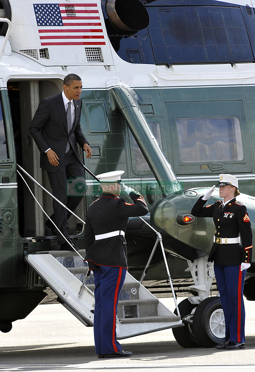File photo dated 26/05/11 of the then US President Barack Obama leaving Marine One at Stansted Airport, in Essex, at the end of his state visit to Britain. Donald Trump???s state visit to the UK is only the third by a US president.