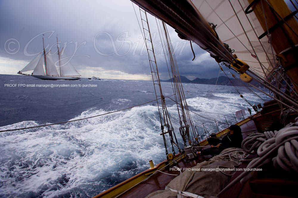 View of Eleonora from onboard Mariette, racing at Regates Royales