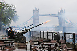 © licensed to London News Pictures. London, UK 11/06/2012. A 62-gun salute being fired from Gun Wharf at the Tower of London to mark Prince Philip's 91th birthday. Photo credit: Tolga Akmen/LNP