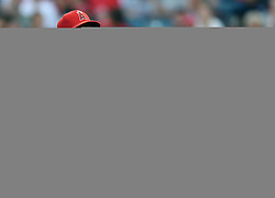 May 16, 2018 - Anaheim, CA, U.S. - ANAHEIM, CA - MAY 16: Los Angeles Angels of Anaheim pitcher Garrett Richards (43) talks with catcher Martin Maldonado (12) after getting hit in the wrist by a ground ball hit in the first inning of a game against the Houston Astros played on May 16, 2018 at Angel Stadium of Anaheim in Anaheim, CA.(Photo by John Cordes/Icon Sportswire) (Credit Image: © John Cordes/Icon SMI via ZUMA Press)