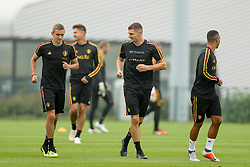 September 5, 2018 - Tubize, BELGIUM - Belgium's Timothy Castagne and Belgium's Thomas Meunier pictured during a training session of Belgian national soccer team the Red Devils in Tubize, Wednesday 05 September 2018. The team is preparing for a friendly match against Scotland on 07 September and the UEFA Nations League match against Iceland on 11 September. BELGA PHOTO BRUNO FAHY (Credit Image: © Bruno Fahy/Belga via ZUMA Press)