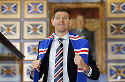Rangers new manager Steven Gerrard during a press conference at Ibrox Stadium, Glasgow. PRESS ASSOCIATION Photo. Picture date: Friday May 4, 2018. See PA story SOCCER Rangers. Photo credit should read: Jeff Holmes/PA Wire. RESTRICTIONS: Editorial use only. No commercial use.