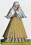 Roman prostitute or courtesan of the 16th century in street dress. 16th century  coloured woodcut.