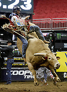Lucas Divino of Brazil rides Mr. Majestic during a Professional Bull Riders competition at the Sprint Center, in Kansas City, Mo., Sunday, March 24, 2019. (AP Photo/Colin E. Braley)