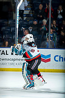 KELOWNA, BC - MARCH 6: Roman Basran #30 of the Kelowna Rockets celebrates the win against the Seattle Thunderbirds with a salute to fans at Prospera Place on March 6, 2020 in Kelowna, Canada. (Photo by Marissa Baecker/Shoot the Breeze)