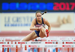 Milica Emini of Serbia competes in the Women's 60 metres Hurdles heats on day one of the 2017 European Athletics Indoor Championships at the Kombank Arena on March 3, 2017 in Belgrade, Serbia. Photo by Vid Ponikvar / Sportida