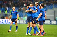 Joie Mathieu BASTAREAUD / Yoann HUGET - 15.03.2015 - Rugby - Italie / France - Tournoi des VI Nations -Rome<br /> Photo : David Winter / Icon Sport