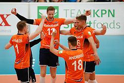 20170525 NED: 2018 FIVB Volleyball World Championship qualification, Koog aan de Zaan<br />Team The Netherlands celebrate a point<br />©2017-FotoHoogendoorn.nl / Pim Waslander
