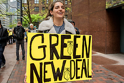 April 30, 2019 - New York, New York, United States - 7 members of Sunrise NYC were arrested outside of Senator Chuck Schumer's midtown office building after blocking the entrance doors in an act of civil disobedience, demanding that the Senator join his colleagues and back the Green New Deal. (Credit Image: © Erik Mcgregor/Pacific Press via ZUMA Wire)