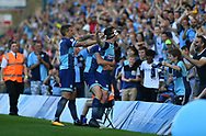 Wycombe Wanderers Matthew Bloomfield(10) celebrates after scoring the first goal during the EFL Sky Bet League 2 match between Wycombe Wanderers and Stevenage at Adams Park, High Wycombe, England on 5 May 2018. Picture by Alistair Wilson.