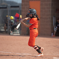 Brenna Becenti (1) bats for the Gallup Bengals during their varsity softball game against the Bernalillo Spartans Tuesday in Gallup.