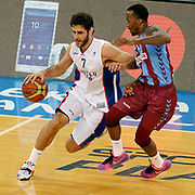 Anadolu Efes's Stratos Perperoglou (L) during their Turkish Basketball League Play Off Semi Final round 1 match Anadolu Efes between Trabzonspor at Abdi Ipekci Arena in Istanbul Turkey on Friday 29 May 2015. Photo by Aykut AKICI/TURKPIX