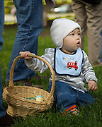 Calvin Tu, 1, watches as others collect dyed eggs and candy during the Easter Egg Hunt at Christ Community Church in Milpitas, California, on March 30, 2013. (Stan Olszewski/SOSKIphoto)