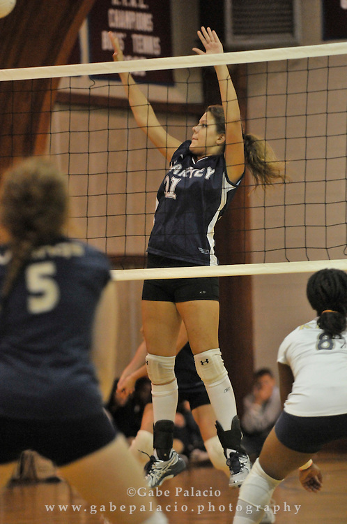 Senior, Alexa Marconi of Garrison, of The Harvey Cavaliers varsity volleyball hosting the King School at the Harvey School homecoming weekend on October, 16, 2010.  (photo by Gabe Palacio)
