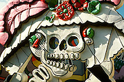 MEXICO, YUCATAN, QUINTANA ROO, TOURISM Cancun; Fiesta Amusement Park, statue of a skeleton celebrates the Days of the Dead festival Nov 1-3