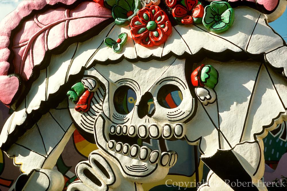 MEXICO, YUCATAN, QUINTANA ROO, TOURISM Cancun; Fiesta Amusement Park, statue of a skeleton celebrates the Days of the Dead festival Nov 1-3