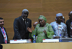 ADDIS ABABA, Jan. 31, 2017  The newly-elected Chairperson of the African Union (AU) Commission, Moussa Faki Mahamat (2nd L) talks with Nkosazana Dlamini-Zuma(3rd L), the former Chairperson of the AU Commission after the conclusion of the 28th AU summit in Addis Ababa, capital of Ethiopia, Jan. 31, 2017. The African Union (AU) 28th Summit on Monday elected Chadian Foreign Minister Moussa Faki Mahamat as the new chairperson of the AU Commission to serve a four-year term. (Credit Image: © Li Baishun/Xinhua via ZUMA Wire)