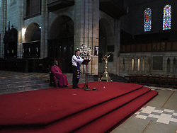 Wednesday 2nd October 2016.<br /> St. George's Cathedral,<br /> Cape Town,<br /> Western Cape,<br /> South Africa.<br /> <br /> #SaveSouthAfrica Silent Prayer Vigil In Cape Town!<br /> <br /> A Religious Leader speaks during a special service after Concerned Citizens and Religious Leaders held a silent protest at St. George's Cathedral in Cape Town.<br /> <br /> Concerned Religious Leaders and other South Africans gathered together in silent protest in support of the call to #SaveSouthAfrica from 'the acute social crisis that has been brought about by corruption, mismanagement and political intrigue' as reported nationwide in the news. The campaign was formed under the banner of holding government leaders accountable to the Constitution and the values they have pledged to uphold as representatives of the people. The #SaveSouthAfrica Silent Prayer vigil was held at St. George's Cathedral in Cape Town, South Africa on Wednesday 2nd November 2016.<br /> <br /> Picture By:  Mark Wessels / RealTime Images.