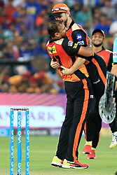 April 29, 2018 - Jaipur, Rajasthan, India - Sunrisers  Hyderabad captain Kane Williamson and Yusuf Pathan celebrate the wicket during the IPL T20 match against Rajasthan Royals at Sawai Mansingh Stadium in Jaipur on 29th April,2018. (Credit Image: © Vishal Bhatnagar/NurPhoto via ZUMA Press)