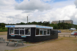 Beach cafe next to Sizewell nuclear power plant, Suffolk 2015