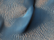 This image shows an area within Proctor Crater that has both dunes and ripples. The smaller, brighter ridges are ripples made of very fine sand. The larger, darker forms are dunes made of dust from dark volcanic rocks. This image was taken by the High Resolution Imaging Science Experiment (HI RISE) camera on NASA's Mars Reconnaissance Orbiter in February 2009.