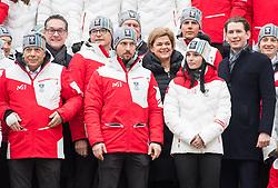 24.01.2018, Hofburg, Wien, Pyeongchang 2018, Vereidigung der Olympia-Mannschaft durch den Bundespräsidenten, im Bild ÖSV-Präsident Peter Schröcksnadel, Vizekanzler Heinz-Christian Strache (FPÖ), ÖOC-Präsident Karl Stoss, Marcel Hirscher (AUT), Bettina Glatz-Kremsner (Casinos Austria AG), Anna Veith (AUT) und Bundeskanzler Sebastian Kurz (ÖVP) // during the swearing-in of the Austrian National Olympic Committee for Pyeongchang 2018 at Hofburg in Vienna, Austria on 2018/01/24, EXPA Pictures © 2018 PhotoCredit: EXPA/ Michael Gruber