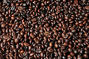 Roasted coffee beans as seen from above