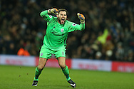 Ben Foster, the West Bromwich Albion goalkeeper celebrates his sides 1st goal scored by Saloman Rondon.  Premier league match, West Bromwich Albion v Swansea city at the Hawthorns stadium in West Bromwich, Midlands on Wednesday 14th December 2016. pic by Andrew Orchard, Andrew Orchard sports photography.