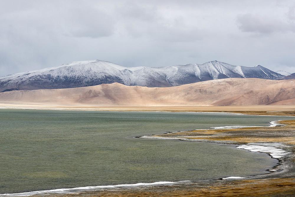 Salt rimmed Tso Kar Lake, Ladakh