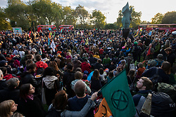 © Licensed to London News Pictures. 06/10/2019. London, UK. Extinction Rebellion protesters gather at Marble Arch to mark the beginning of two weeks of direct action in London. Photo credit: George Cracknell Wright/LNP